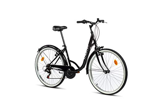 "Moma Bikes Town, Bicicletta di Città 26"", Shimano 6v, Freni V-Brake Alluminio. Unisex - Adulto, Nero, Unic Size"