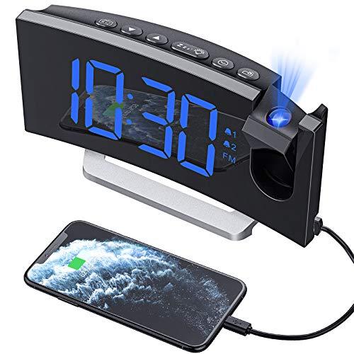 Mpow [Versione AGGIORNATA Sveglia Digitale, Sveglia da Comodino, Radiosveglia con Proiettore, FM Orologio, Doppi Allarmi, USB Porta, Funzione Snooze, Sleep Timer, 5'' Display LED con Dimmer, 12/24H