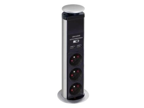 Nedis - Multipresa elettrica a incastro e a scomparsa, 3prese, 2prese USB, da tavolo, ufficio, casa