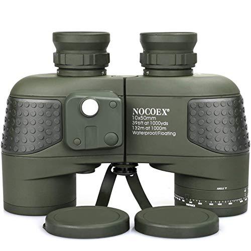 NOCOEX 10x50 Binocolo Marino per Adulti, Binocolo Militare Impermeabile con Bussola Telemetro BAK4 Prisma Lente FMC Antiappannamento per la Navigazione Birdwatching Caccia
