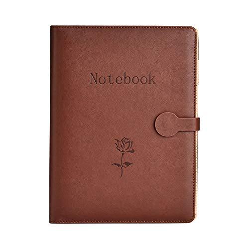 Notebook in Pelle A5,SEEALLDE Notebook di Composizione per Riutilizzabile con Tasca Travel Diary Cartella per Conferenze Notebook 240 Pagine Spesse Regali per Partner(Marrone)