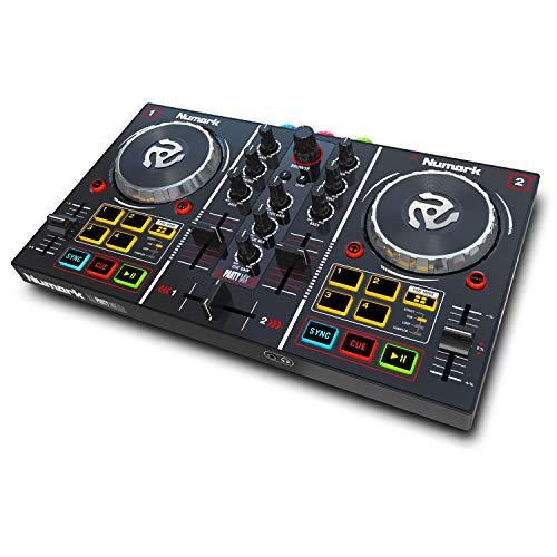 Numark Party Mix - Controller DJ plug-and-play a due canali per Serato DJ Lite, con interfaccia audio integrata, segnale cuffie, controlli Pad, crossfader, jog wheel e luci da discoteca