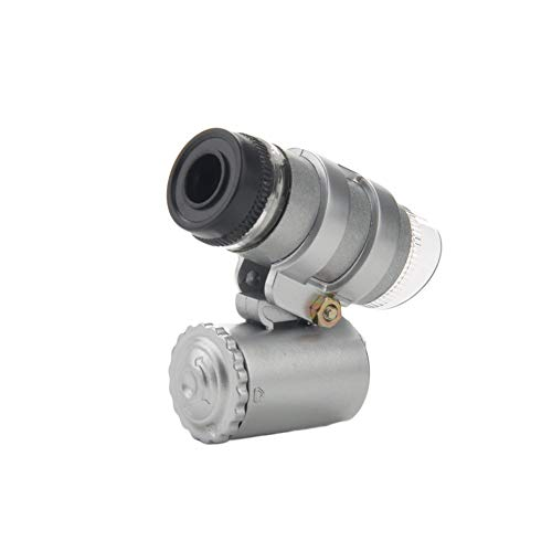 Ogquaton Mini microscopio 45X con luce, 2 microscopi per gioielli tascabili a LED con custodia in pelle in PVC per timbri di oggetti d'antiquariato e altro Argento comodo e pratico
