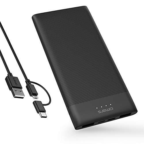 Omars Powerbank 5000mAh Caricabatterie Portatile 3 Porte con Porta USB C, 2 x USB A Porta per iPhone X 8 7 Plus 6s 6 SE 5 iPad Air Mini Samsung Galaxy S9 S8 S7 Edge S6 Smartphone