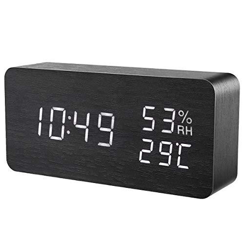 Oria Sveglia Digitale Legno, Orologio da Tavolo, Orologio Moderno Legno con 3 Sveglie, Controllo del Suono e Tocco, Grande Display Temperatura Calendario, Fornito da USB/AAA Batteria, per Ufficio Casa