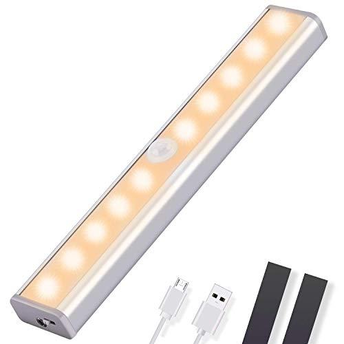 OUSFOT Luce Armadio Led Guardaroba con Sensore di Movimento, Luce Notturne con USB 10 LED Luci Camera da Letto con Striscia Magnetica Adesiva,per Barra/Corridoio/Cucina (Luce Bianca Calda) (1 pezzo)