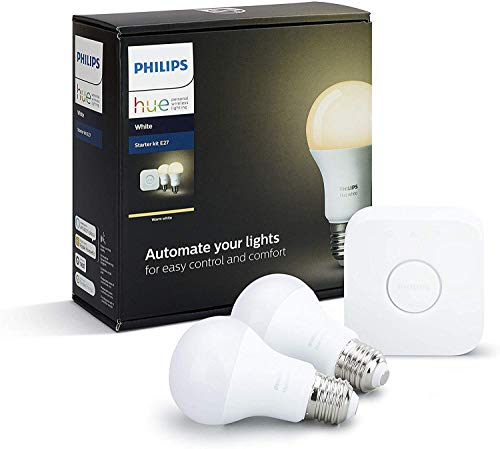 Philips Hue White Starter Kit E27 con 1 Bridge e 2 Lampadine White Connesse Incluse, 9 W, Bianco