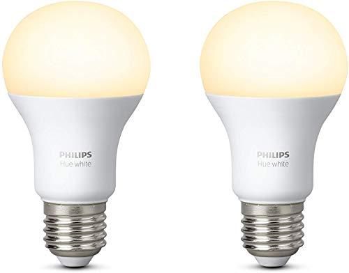 Philips Lighting Hue White Lampadine LED, Attacco E27, 9 W, 2 Pezzi, Luce Calda