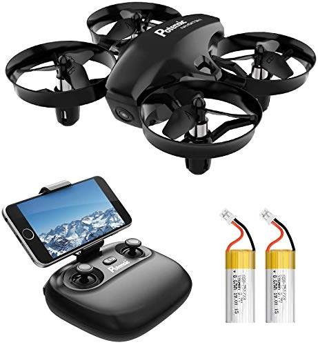 Potensic Mini Drone con Telecamera Telecomando Quadricottero WiFi Batteria Rimovibile con Funzione di Sospensione Altitudine, Modalità Senza Testa, Adatto per Principianti Buon Regalo per Bambini Nero