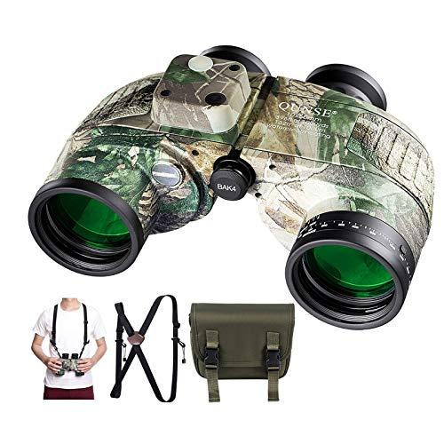 QUNSE Binocolo Militare 10 x 50 per bambini e adulti, con telemetro e bussola, adatto per caccia, bird watching e viaggi (Esercito Camouflage)