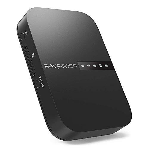 RAVPower FileHub Versione 2019, Router WiFi Portatile, Ripetitore WiFi, SSD Hard Disk Portatile, Lettore Schede SD per iPhone iPad Tablet Smart Phone per Trasmissione dei Dati, Powerbank da 6700mAh