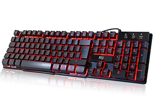 Rii Gaming RK100 (layout ITALIANO) - Tastiera italiana da gioco retroilluminata a LED (3 colori) con tasti multimediali, paragonabile a una tastiera meccanica