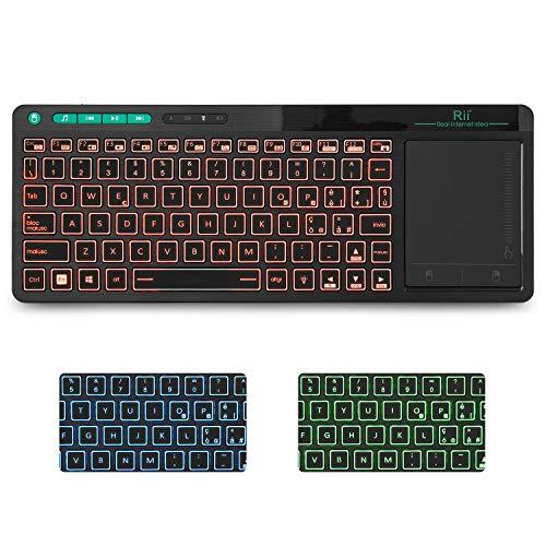 Rii Mini i18+ Wireless (Layout Italiano) - Tastiera retroilluminata con Mouse touchpad Multi-Touch per Smart TV, Mini PC, HTPC, Console, Computer