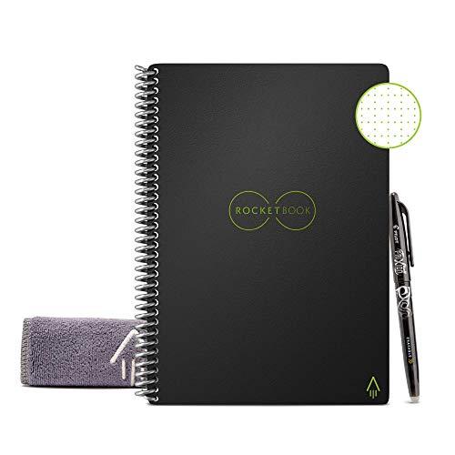 Rocketbook EVR-E-R Notebook riutilizzabile con Panno e Penna Inclusi, Nero (Infinity Black) (21,59 cm x 27,94 cm)
