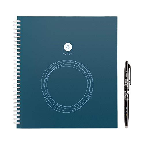 Rocketbook Wave Smart Notebook riutilizzabile - Carica le note utilizzando l'applicazione iOS / Android e poi la microonda per cancellare tutte le pagine e riavviare di nuovo - Standard / Grandezza