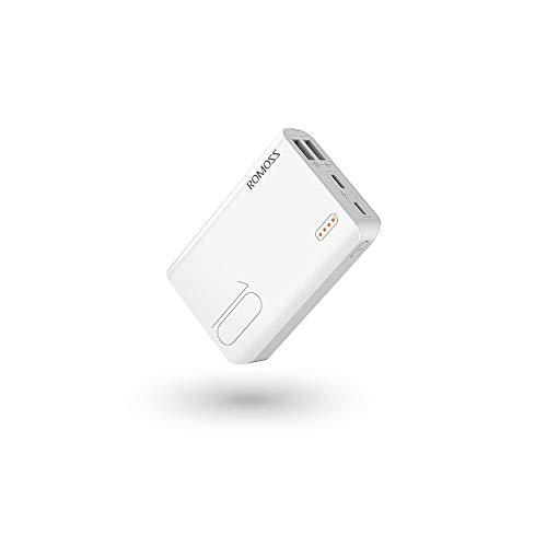 Romoss Caricabatterie Portatile 5000mAh, Power Bank Ultra Sottile Tascabile Compatible con Tutti i telefoni cellulari (Bianca)