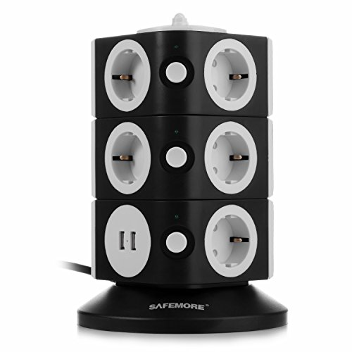SAFEMORE Torretta Multipresa Verticale Multipresa Elettrica Scrivania con 11 Prese Schuko e 2 Porte USB e Interruttori Protezione di Sovraccarico,nero, 2500W/10A