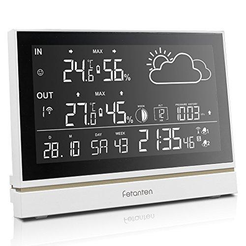 Sconosciuto Stazione Meteo con Sensore Esterno/Termometro Igrometro/Sveglia digitale da comodino/MAX MIN Temperatura e Umidità/Fase Lunare/Previsioni/Barometro | Display LCD da 7,5 pollici
