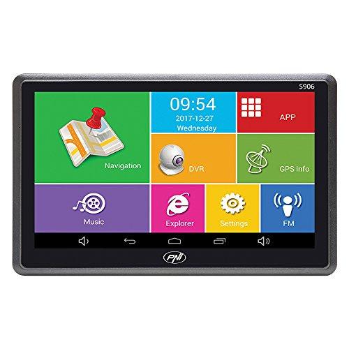 Sistema di navigazione GPS 7 pollici e DVR per auto Dash Cam PNI S906, Android 6.0, applicazioni Here Maps e Waze preinstallate