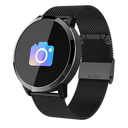 Smart Watch, Pedometro, Health Tracker, Bluetooth Sport Touch, Lunga Vita, Sonno, Anti-Lost, Impermeabile, Fun, Multi-Class (Colore : Blacksteel)