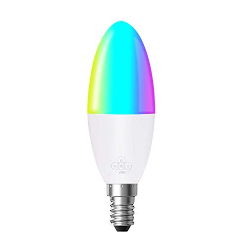 Smart wifi lampadina a led, 6w 16 milioni di colori rgb, base e14/e26 /e27/b22
