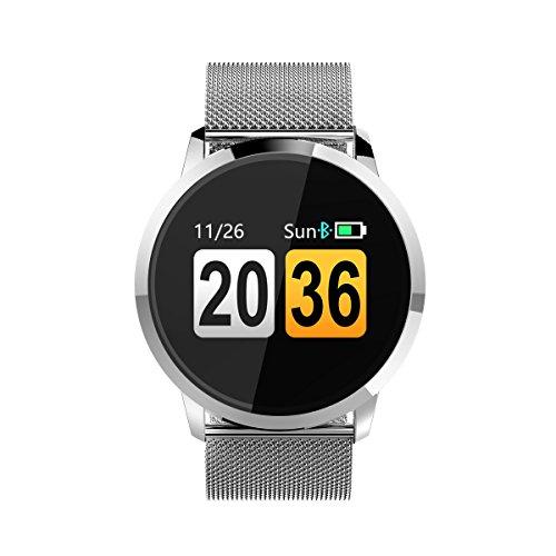 Smartwatch, Smartwatch Impermeabile Donna IP67, Smartwatch Sportivo Orologio Sportivo Cardiofrequenzimetro da Polso Monitoraggio Fitness Tracker Contapassi Bluetooth Android iOS (Argento)
