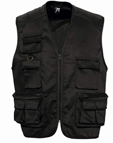 SOL'S-Gilet multitasche per reporter/fotografi, giacca leggera senza maniche 43630, unisex nero Medium