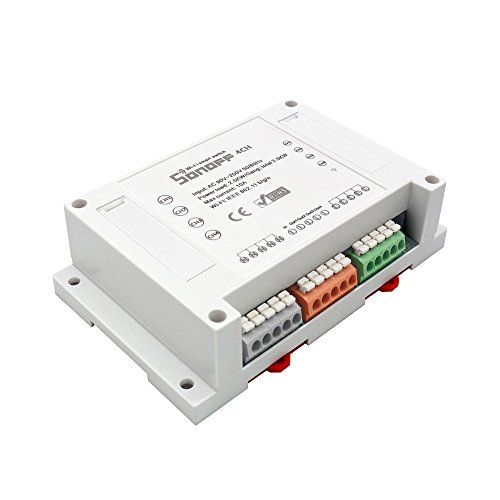 Sonoff 4CH- 4 Canali Montaggio su barra DIN Interruttore Wi-Fi per Realizzazione Impianto Domotica Fai-Da-Te (Smart Home DIY), Controllo Remoto di Quattro Elettrodomestici Indipendenti