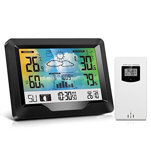 Stazione Meteo con Sensore Estern, Termometro Igrometro Digitale per Temperatura Umidità Interno Esterno, Wireless Stazione Meteorologica Meteo con LCD Display Sveglia Tempo Data Previsioni di Tempo