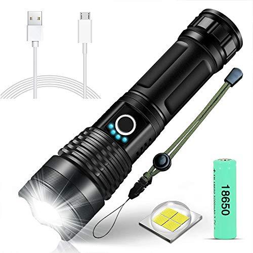 SunTop Torcia LED torce a LED con base magnetica, 6 modalità Torcia elettrica L2 LED di aggiornamento T6, lampada LED impermeabile Zoomable con caricatore, 18650 batteria ricaricabile