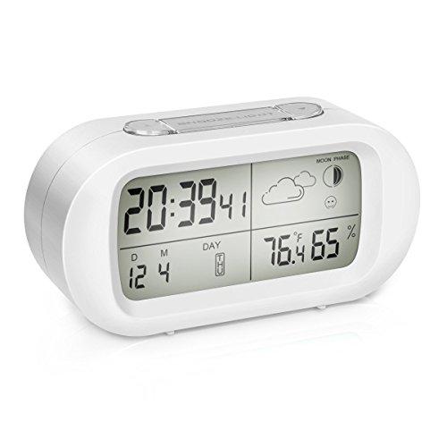 Sveglia Digitale da Comodino, EIVOTOR LCD Orologio, Sveglia Retroilluminata con Luce Notturna, Funzione Snooze, da Scrivania con Temperatura e Umidità, Orario Modalità 12/24h Bianca