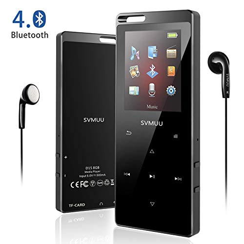 SVMUU 8GB Bluetooth Music Player MP3, Musica Senza Perdite e Pulsante Touch, Display da 1,8 Pollici con Radio FM, Registratore Cocale, Contapassi, Supporto Fino a 64 GB