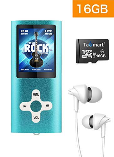 Tabmart Metal Hi-Fi Capacità Di 16GB Lettore MP3 Musicale Portatile Lettore MP4 Ad Alta Risoluzione Con 1,8 Pollici Schermo MP3 Lettore Multifunzione 10 Ore Di Riproduzione Continua, Blu