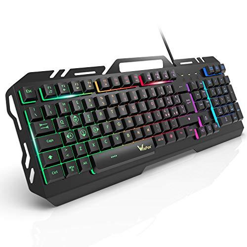 Tastiera da Gioco, WisFox Tastiera Cablata USB Retroilluminata a Colori Rainbow, Tastiera da Computer Ultrasottile Silenziosa in Metallo con Design Resistente Agli Spruzzi per Windows PC Gamer - Nero