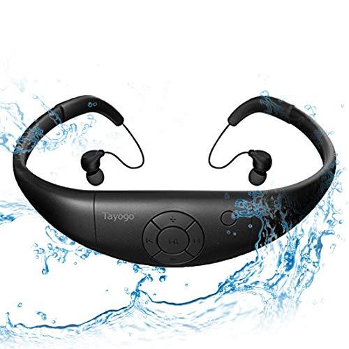 Tayogo Lettore MP3 Subacqueo Cuffie Nuoto Auricolari Piscina 8GB Disco U Rimovibile per Nuoto Sport