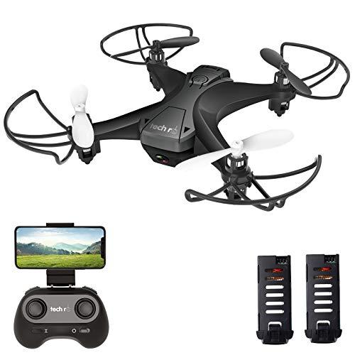 tech rc Mini Drone con Telecamera con Due Batterie Funzione di Sospensione Altitudine Un Pulsante di Decollo/ Atterraggio ,Modalità Senza Testa Protezioni 360°per Bambini e Principianti Buon Regalo