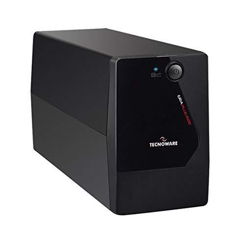 Tecnoware Gruppo di Continuità UPS ERA PLUS 1500, Potenza 1500 VA, Autonomia fino a 20 min con 1 PC o 80 min con Modem Router, Stabilizzazione AVR, USB e Software per UPS TecnoManager Win/Mac