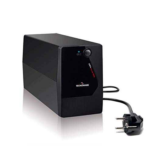 TECNOWARE Gruppo di Continuità UPS ERA PLUS 900. Potenza 900 VA, Autonomia fino a 13 min. con 1 PC o 50 minuti con Modem Router, 2 prese d'uscita schuko - Stabilizzazione AVR.