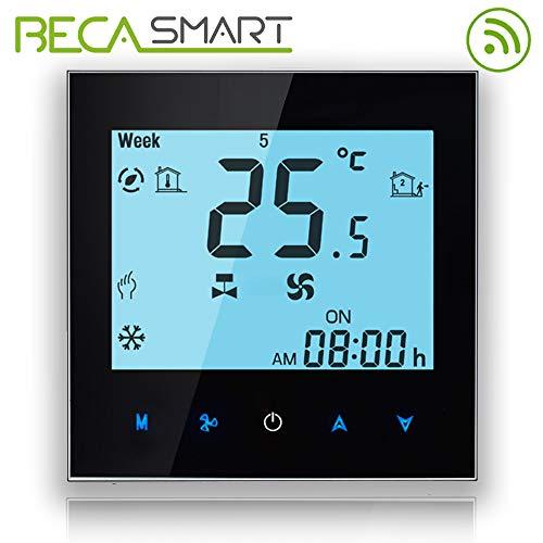 Termostato Beca Serie 1000 Quattro tubi per climatizzazione Fan Coil di retroilluminazione bianca con connessione WiFi per supporto Intelligent Voice (Quattro tubi, Nero(WIFI))