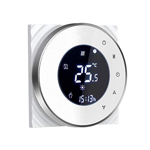 Termostato con Wi-Fi integrato per caldaia a gas , Termostato intelligente Touchscreen Controllo vocale Programmazione remota Compatibile con Alexa Google Home e APP per smartphone