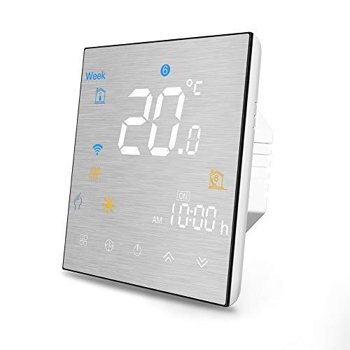 Termostato Wi-Fi per caldaia a gas, termostato intelligente Controllo schermo LCD (pannello spazzolato) Pulsante a sfioramento Lavora con Alexa Google Home e App IOS/Android
