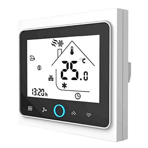 Termostato WiFi per Caldaia a Gas,Termostato intelligente Schermo LCD(TN schermo) Touch Button Retroilluminato Programmabile con Alexa Google Home e Telefono APP-Bianco/Nero