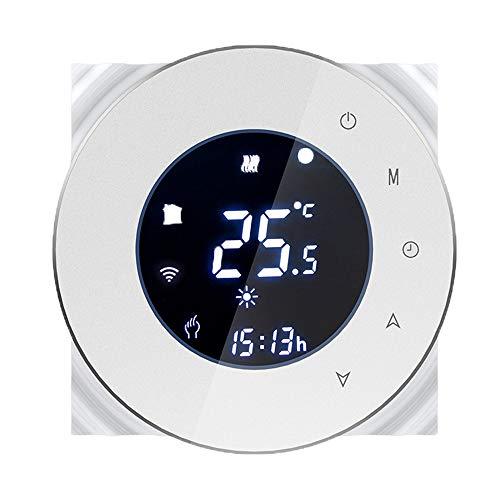 Termostato WiFi, Termostato intelligente per Caldaia a Gas Schermo LCD(VAschermo) Touch Button Retroilluminato Programmabile con Alexa Google Home e Telefono APP (Bianco)
