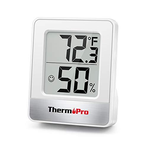ThermoPro TP49 Mini Igrometro Termometro Digitale Termoigrometro da Interno per Casa Monitor di Temperatura e umidità per Ambienti con Livello di Comfort, Bianco