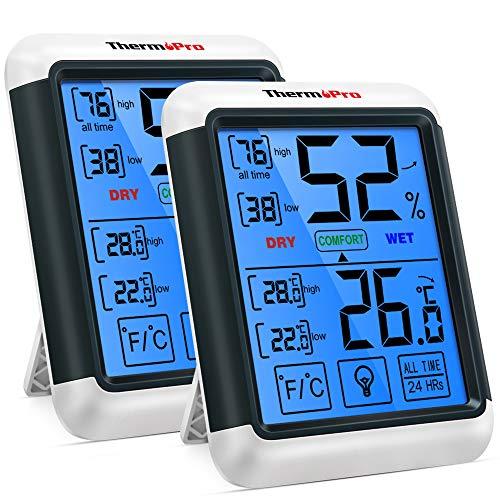 ThermoPro TP55 2 Pezzi Termometro Igrometro Digitale da Interno per Casa Misuratore di umidità e Temperatura da Ambiente Termoigrometro Professionale con Schermo Touchscreen e Retroilluminazione