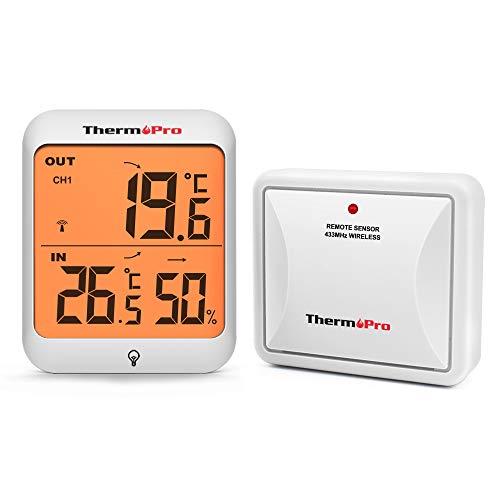 ThermoPro TP63A Termometro Igrometro Digitale da Interno Esterno Misuratore di Temperatura e umidità Wireless con Sensore Esterna Resistente al Freddo e Impermeabile, 200ft / 60m