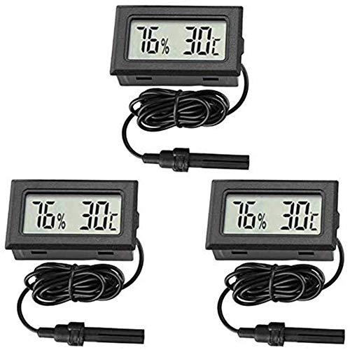 Thlevel 3PCS Termometro Digitale Igrometro Mini Sonda Termometri Temperatura Umidità Misuratore per Rettili Incubatore Acquario Pollame Ufficio Soggiorno
