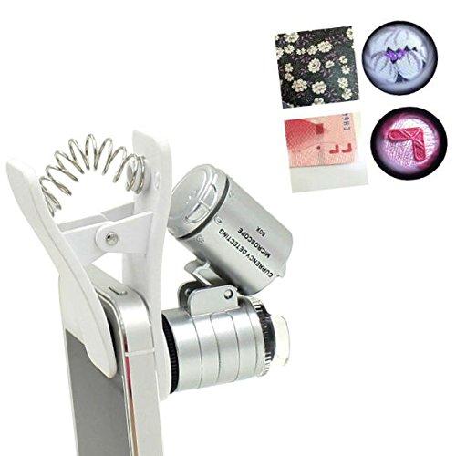 tkstar 60X Zoom microscopio lente d' ingrandimento tascabile clip di tipo il cellulare con LED e UV Luci per bambini,clip on Micro Obiettivo per Universal SmartPhone,ju9882 W