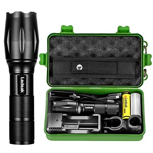 Torcia elettrica LED, Ledeak CREE 1200 Lumens alta potenza, 5 modi torcia tattica impermeabile Zoomable con caricatore USB, 18650 batteria ricaricabile, manubrio ciclismo