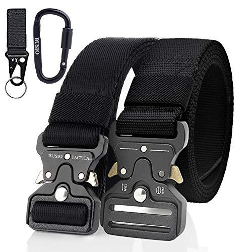 TOUROAM Military Tactical Belt 2 Pack Quick Release Heavy Duty Metal Buckle Nylon Belt,Khaki Tactical MOLLE Army Gun Belt (Black+black)
